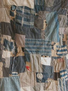 """Boro is a Japanese word meaning """"tattered rags"""" and it's the term frequently used to describe lovingly patched and repaired cotton bedding and clothing Shibori, Boro Stitching, Hand Stitching, Visible Mending, Make Do And Mend, Japanese Embroidery, Sashiko Embroidery, Recycling, Japanese Textiles"""