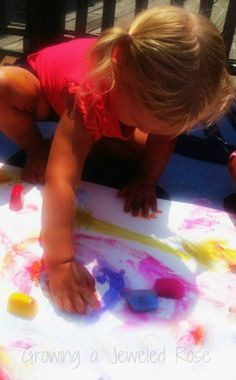 Ice Painting- a FUN way to keep cool this Summer!    http://www.growingajeweledrose.com/2012/07/summer-fun-ice-painting.html