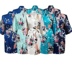 Floral Bridal Party Robes, Sizes 2 to 20, Sets of 4 thru 15 - Gifts Are Blue - 8