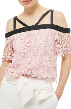 strappy lace top by Topshop. Silky grosgrain ribbon encircles the neckline and shoulders in a striking juxtaposition to a floral guipure lace top ...