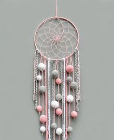 Pink nursery dream catcher Kids room decor wall hanging Christmas gift for baby girl Dreamcatcher with pompoms Baby shower gift - This pink, gray and white dream catcher is a beautiful room for baby girl room. Dream Catcher Pink, Dream Catcher Nursery, Dream Catcher Craft, Diy Dream Catcher For Kids, Dream Catcher Mobile, Making Dream Catchers, Doily Dream Catchers, Nursery Decor, Wall Decor