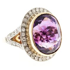 Oval Amethyst Diamond Rose Gold Platinum Ring. Victorian 1890 to 1900 handmade 14k soft Rose gold Platinum topped ring with single cut diamonds and purple natural Amethyst. c 1890s