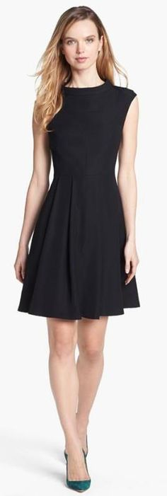 Style tip: Pair a simple black fit & flare dress with a colored pump