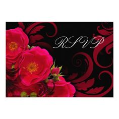 Fuchsia and Black Garden Rose w/ Swirl RSVP Reply Personalized Invitation