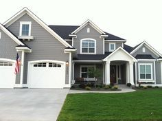 dovetail gray sw white dove bm exterior paint colors for our house this summer Siding Colors, Exterior Paint Colors For House, Paint Colors For Home, Exterior Colors, Exterior Design, Roof Colors, Grey Exterior, Stucco Exterior, Exterior Cladding