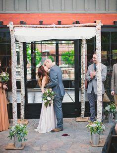 Palm Springs wedding under a wooden chuppah