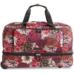 Vera Bradley Lighten Up Wheeled Carry On ($198) ❤ liked on Polyvore featuring bags, luggage and rosewood