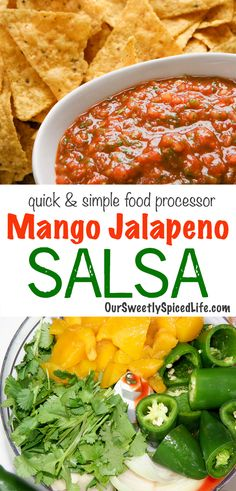 Mango Jalapeno Salsa - easy food processor or blender salsa The best mango jalapeno salsa recipe! Check out this spicy salsa recipe with fresh tomatoes, or use Fresh Salsa Recipe, Fresh Tomato Recipes, Mango Salsa Recipes, Spicy Recipes, Mexican Food Recipes, No Tomato Salsa Recipe, Recipes For Tomatoes, Fresh Jalapeno Recipes, Mango Recipes Healthy