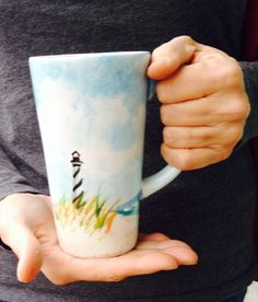 Lighthouse latte mug - hand painted and ready for your beverage!
