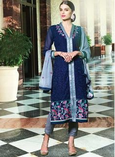 Navy Blue Grey Embroidery Work Georgette Palazzo Pakistani Suit http://www.angelnx.com/Salwar-Kameez/Pakistani-Suits