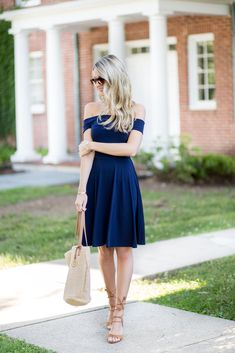 Tassel Lace Up Heels & Navy Dress | Perfect Summer Wedding Outfit