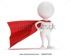3d man - brave superhero with red cloak. Isolated on white - stock photo