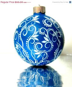 Small Blue and White Christmas Ornament Hand Painted Glass Ornament