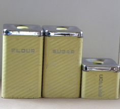 Vintage Yellow Kitchen Canisters