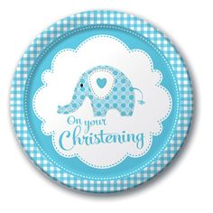 "Blue Elephant On Your Christening 9"" Paper Plates - 8pk"