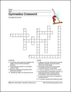Gymnastics Printables: Gymnastics Crossword Puzzle