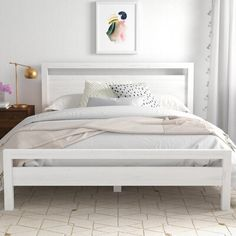 null Anchor your master suite or guest room with this essential bed, the perfect foundation for your restful retreat. White Platform Bed, Platform Bed With Storage, Platform Beds, Beds With Storage, Queen Platform Bed Frame, Bedroom Bed, Bedroom Decor, Bedroom Ideas, Bedroom Inspo
