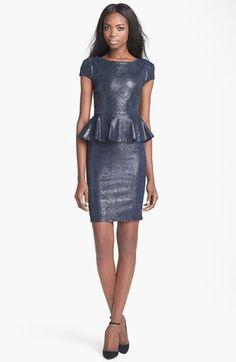 Alice + Olivia 'Cheyenne' Leather Peplum Dress