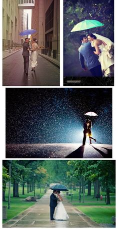 Okay, either have your wedding on a rainy day…OR start taking pictures now of ya'll in the rain and then put them all together and at the end put one of ya'll in the rain on your wedding. Complex and...
