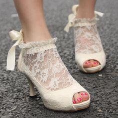 fa9e5a92af946d Womens Lace Wedding Bridal Ankle Peep Toe Elegant Heels Pumps Shoes New