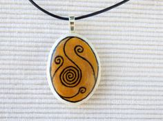Handpainted+beach+pebble+pendant+spiral+1+by+Psifides+on+Etsy,+€10.00