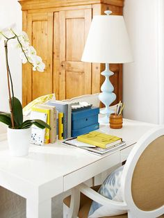 Stylish and organized work space | via BHG.com