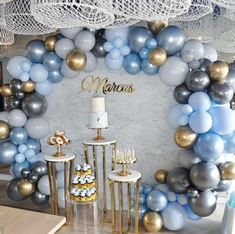 Our baby Marcus' Christening and First Birthday celebrations 💙 Baptism Party Decorations, Baby Shower Decorations For Boys, Boy Baby Shower Themes, Baby Shower Balloons, Balloon Decorations, Birthday Decoration For Boy, Christening Themes, Baby Christening, Baby Boy Christening Decorations