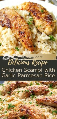 Baking Dishes, Food Dishes, Chicken Spaghetti Recipes, Chicken Recipes, Easy Skillet Meals, Easy Meals, Appetizer Recipes, Dinner Recipes, Chicken Scampi