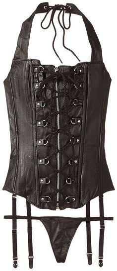 Allure Lingerie Women's Plus-Size Leather Lace-Up Zipper Front Corset -- Awesome product. Click the image : Plus size lingerie