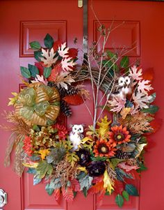 Owls in the Autumn Woods Wreath, Fall Harvest Wreath by IrishGirlsWreaths