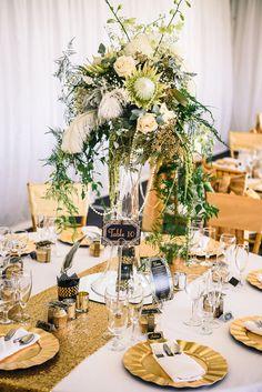 glam wedding table - photo by Carla Atley Photography -perth Great Gatsby Wedding, Art Deco Wedding, Glamorous Wedding, Floral Wedding, Gatsby Theme, Gatsby Style, Elegant Wedding, Wedding Reception Centerpieces, Wedding Flower Arrangements