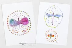 Whimsical Butterfly Dragonfly Bee Watercolor Postcard/Multicolor Pastel Insect Card/Set of 2 Cards