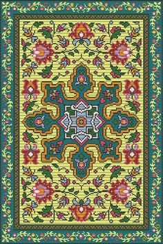 French Vintage Rug Bead Loom Tapestry Pattern Chart PDF