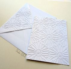 Flower Embossed Cards - Set of 4 white A2 embossed cards or Choose Your Colors by StudioIdea on Etsy