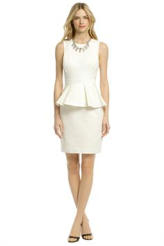 Shoshanna Alexa Peplum Dress - Have fun accessorizing this beautiful white Shoshanna Peplum, but don't go too overboard - keep it clean and simple for your interview!