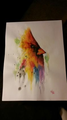 """18"""" x 24"""" /457mm x 610mm  Medium : water colour Title """" Angry bird """""""