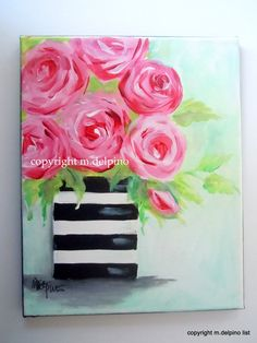 Pink roses, original rose painting on canvas, bright pink roses in black and white stripe vase, floral still life, small original painting by ARTandDecorations on Etsy https://www.etsy.com/listing/87352140/pink-roses-original-rose-painting-on