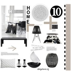 Black and White Home items by efashiondiva7 on Polyvore featuring interior, interiors, interior design, home, home decor, interior decorating, Kartell, Yerra, Normann Copenhagen and CB2