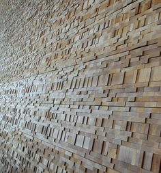 Patterned wood block walls at the Vancouver Convention Center