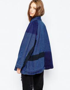 Image 2 ofWaven Denim Oversized Patchwork Overcoat