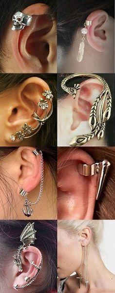 Funky oreja dobladillo No Piercing Cartílago Superior Oreja Aros joyas de cuerpo en plata