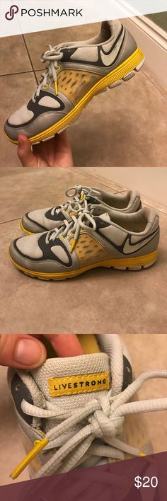 Livestrong Nike Sneakers Size 8 Size 8 Nike Livestrong sneakers from Lance Armstrong's Collection. Shoes have been worn before, but are in good condition. Great for running or even leisure. Nike chip in the shoe. Nike Shoes Athletic Shoes