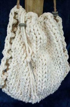 Knitted Boho pull string jute rope bag Knitted Bags, Merino Wool Blanket, Jute, Upcycle, Shabby Chic, Hand Painted, Boho, Handmade, Hand Made