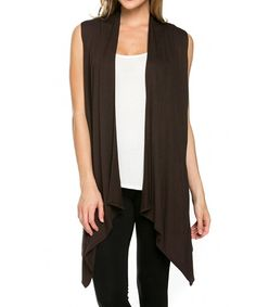 7841e1cca42 Women s Solid Color Sleeveless Asymetric Hem Open Front Cardigan -Made in  USA - C511ZA67Z2L
