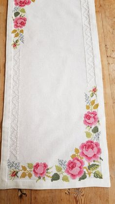 x 11 /rose cross stitch / embroidered / tablerunner in white cotton from Sweden - Cross Stitch Letter Patterns, Cross Stitch Letters, Cross Stitch Rose, Cross Stitch Borders, Cross Stitch Designs, Embroidery Stitches, Embroidery Patterns, Hand Embroidery, Crochet Bedspread