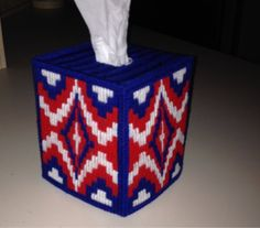 Excited to share this item from my shop: Red White and Blue Bargello Tissue Box Cover Plastic Canvas Tissue Boxes, Plastic Canvas Crafts, Plastic Canvas Patterns, Kleenex Box, Sunflower Pattern, Patriotic Crafts, Bargello, Tissue Box Covers, Needlepoint