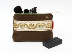 Brown Zipper Pouch - Vintage Ribbon Makeup bag - pinned by pin4etsy.com