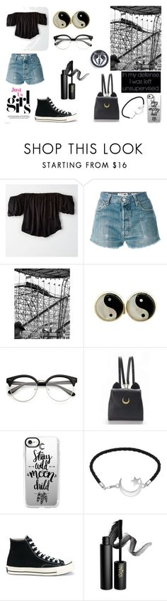 """~Amusement park with friends! [Love you to the Moon and Back #3]~"" by dazacrystal23 on Polyvore featuring American Eagle Outfitters, RE/DONE, WithChic, Casetify, Converse and INIKA"