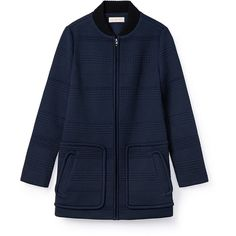 Tory Burch Ribbed-Collar Jacquard Coat (8.437.095 IDR) ❤ liked on Polyvore featuring outerwear, coats, navy blue, lightweight trench coat, tory burch coat, trench coat, navy blue coat and tory burch