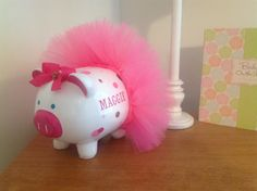 Personalized Piggy Bank - Tutu, Dots, Name and Matching Bow - Design Your Own - Choose Your Own Colors